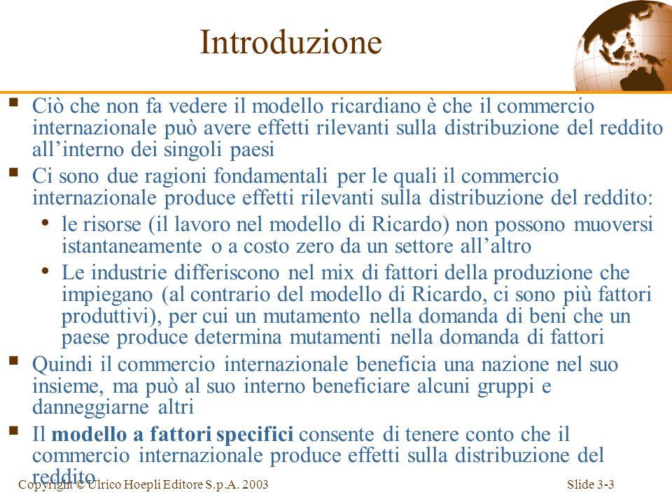 Slide 3-2Copyright © Ulrico Hoepli Editore S.p.A. 2003 Introduzione Il modello a fattori specifici Il commercio internazionale nel modello a fattori s