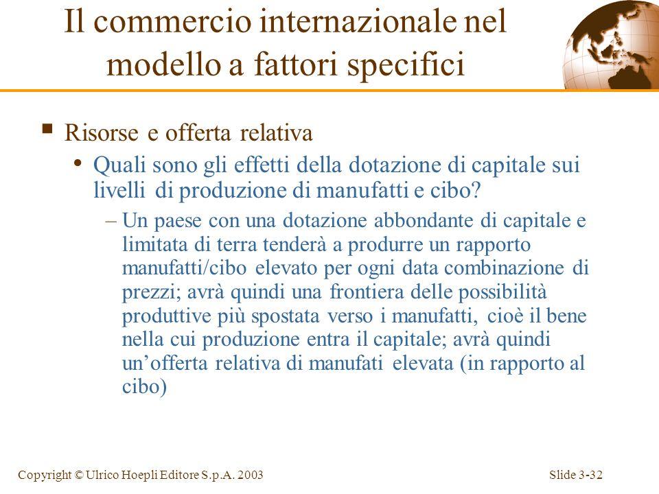 Slide 3-31Copyright © Ulrico Hoepli Editore S.p.A. 2003 Assunzioni del modello Assumiamo che entrambi i paesi (Giappone e America) abbiano la stessa c