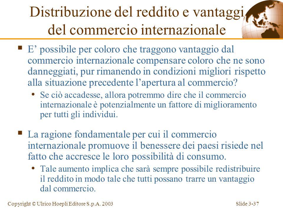 Slide 3-36Copyright © Ulrico Hoepli Editore S.p.A. 2003 Distribuzione del reddito e vantaggi del commercio internazionale Chi guadagna e chi perde da