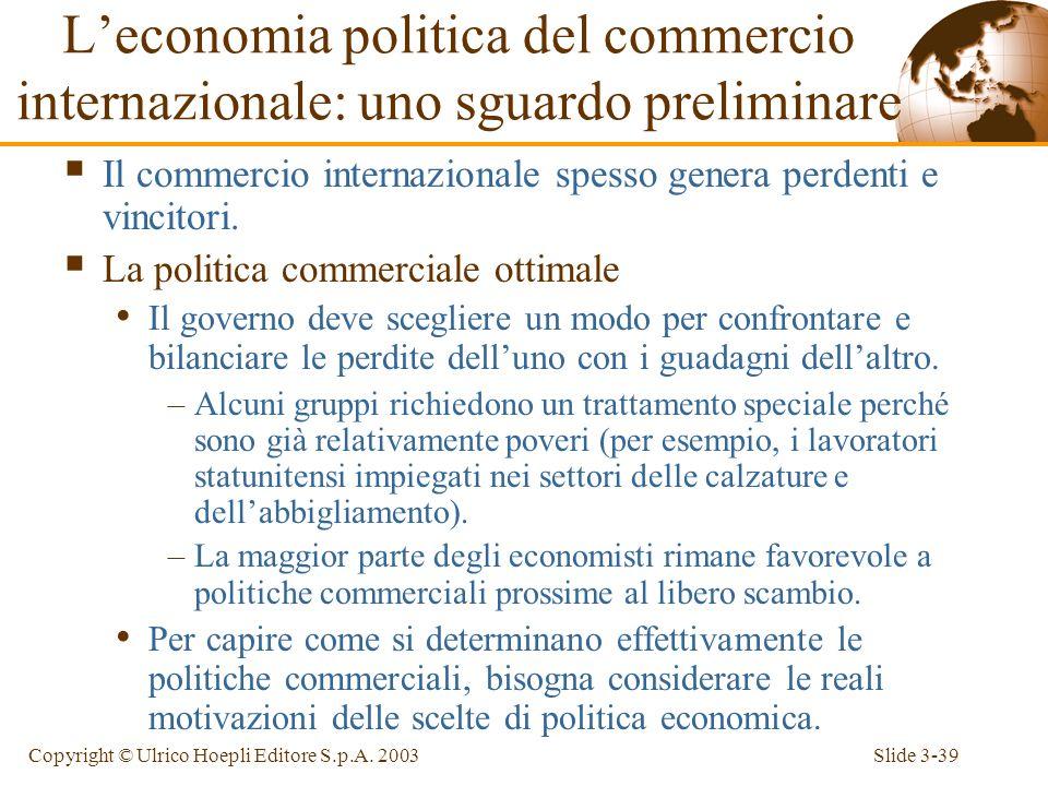Slide 3-38Copyright © Ulrico Hoepli Editore S.p.A. 2003 vincolo di bilancio (inclinazione = - P M /P F ) PP Consumo di manufatti, D M Produzione di ma