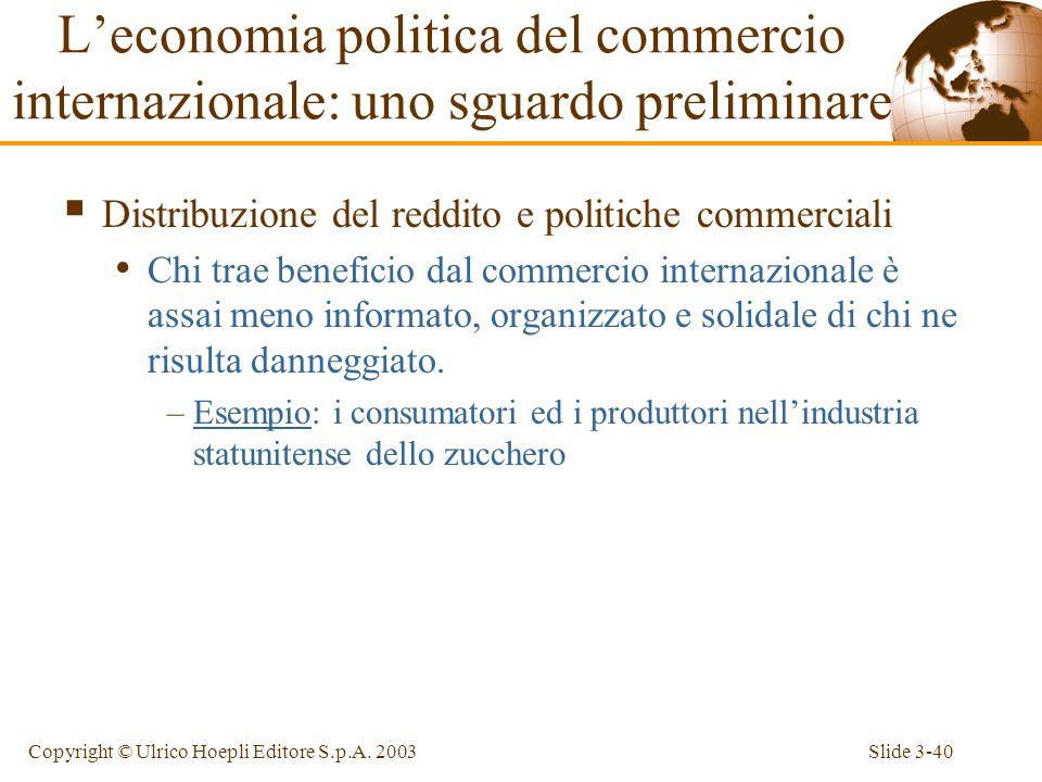 Slide 3-39Copyright © Ulrico Hoepli Editore S.p.A. 2003 Il commercio internazionale spesso genera perdenti e vincitori. La politica commerciale ottima