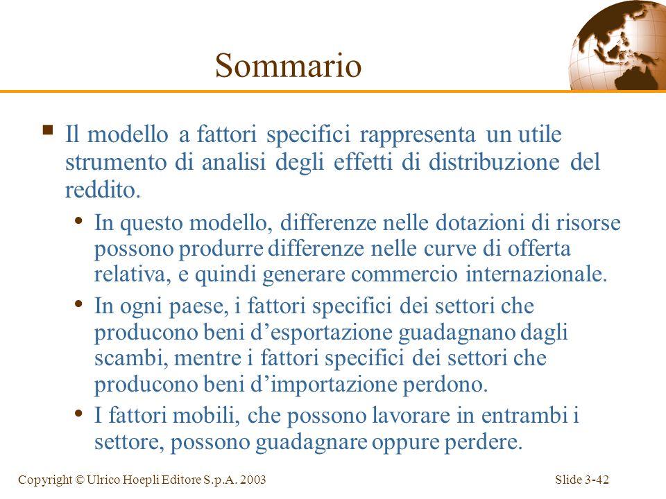 Slide 3-41Copyright © Ulrico Hoepli Editore S.p.A. 2003 Sommario Il commercio internazionale spesso ha effetti rilevanti sulla distribuzione del reddi