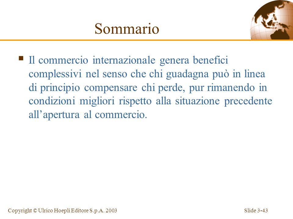 Slide 3-42Copyright © Ulrico Hoepli Editore S.p.A. 2003 Sommario Il modello a fattori specifici rappresenta un utile strumento di analisi degli effett