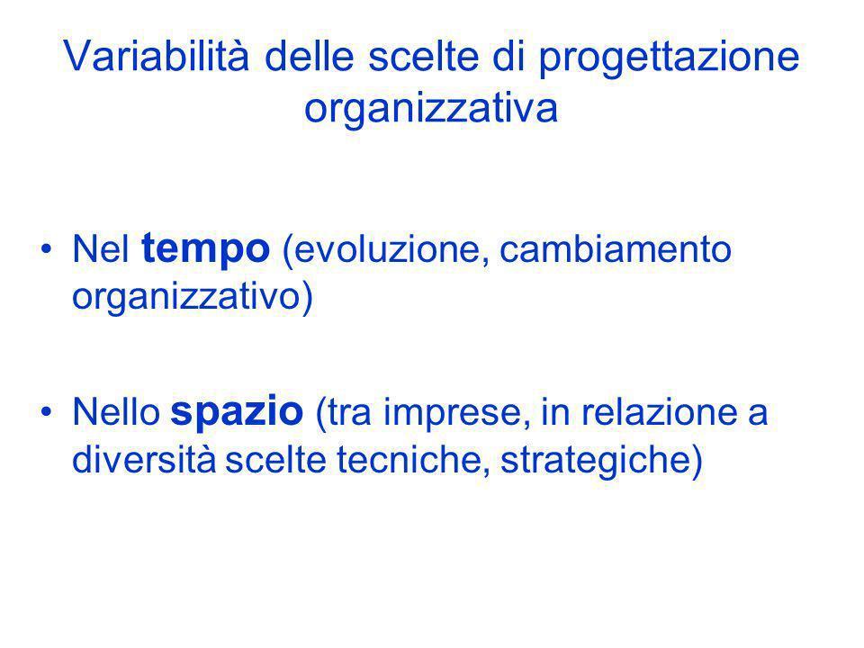 Variabilità delle scelte di progettazione organizzativa Nel tempo (evoluzione, cambiamento organizzativo) Nello spazio (tra imprese, in relazione a di