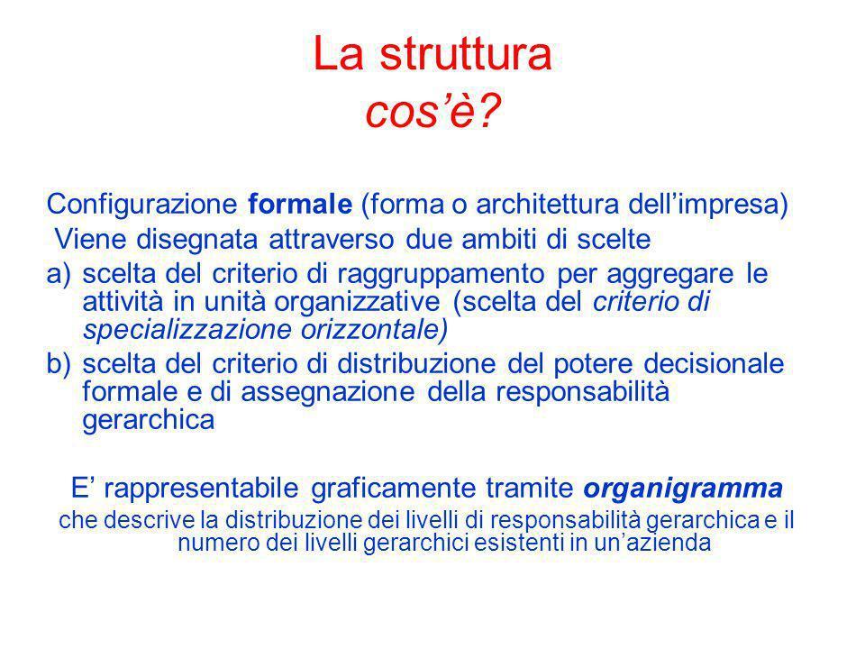 La struttura cosè? Configurazione formale (forma o architettura dellimpresa) Viene disegnata attraverso due ambiti di scelte a)scelta del criterio di
