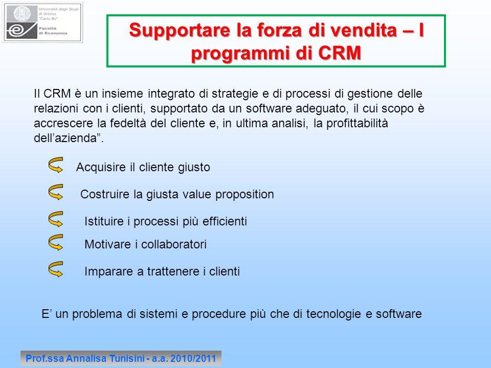 Prof.ssa Annalisa Tunisini - a.a. 2010/2011 Supportare la forza di vendita – I programmi di CRM Il CRM è un insieme integrato di strategie e di proces