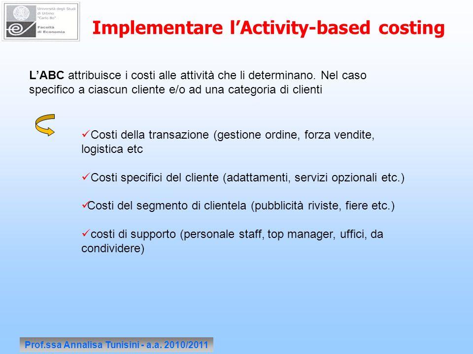 Prof.ssa Annalisa Tunisini - a.a. 2010/2011 Implementare lActivity-based costing LABC attribuisce i costi alle attività che li determinano. Nel caso s