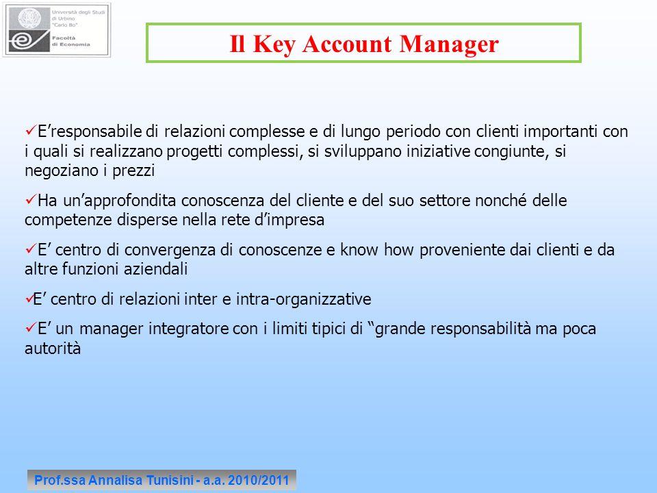 Prof.ssa Annalisa Tunisini - a.a. 2010/2011 Il Key Account Manager Eresponsabile di relazioni complesse e di lungo periodo con clienti importanti con