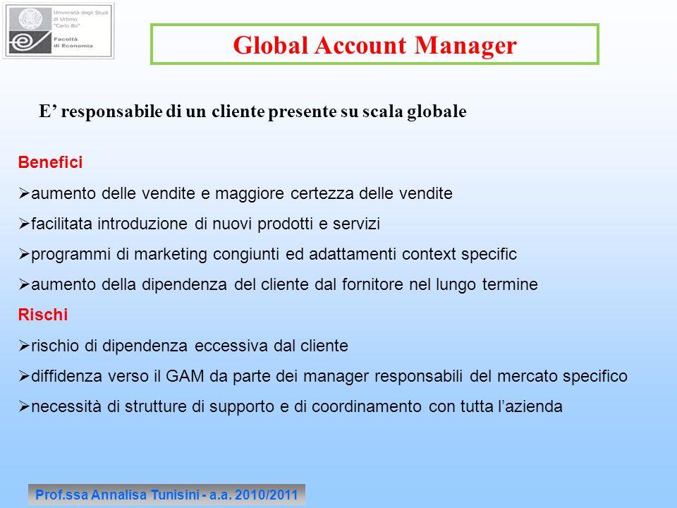 Prof.ssa Annalisa Tunisini - a.a. 2010/2011 Global Account Manager Benefici aumento delle vendite e maggiore certezza delle vendite facilitata introdu