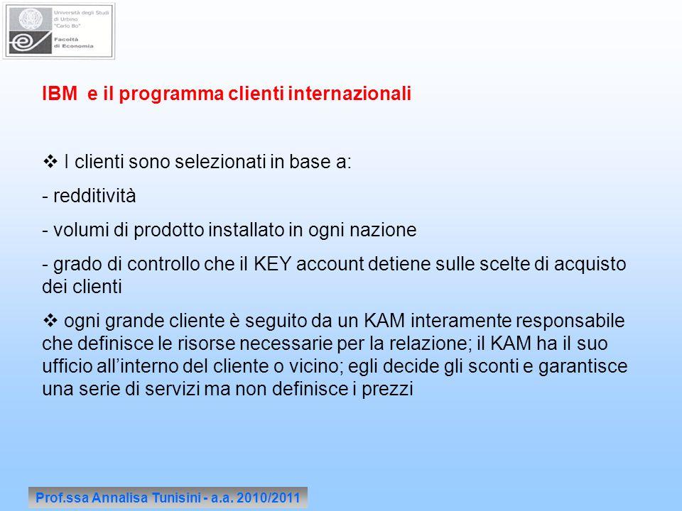 Prof.ssa Annalisa Tunisini - a.a. 2010/2011 IBM e il programma clienti internazionali I clienti sono selezionati in base a: - redditività - volumi di