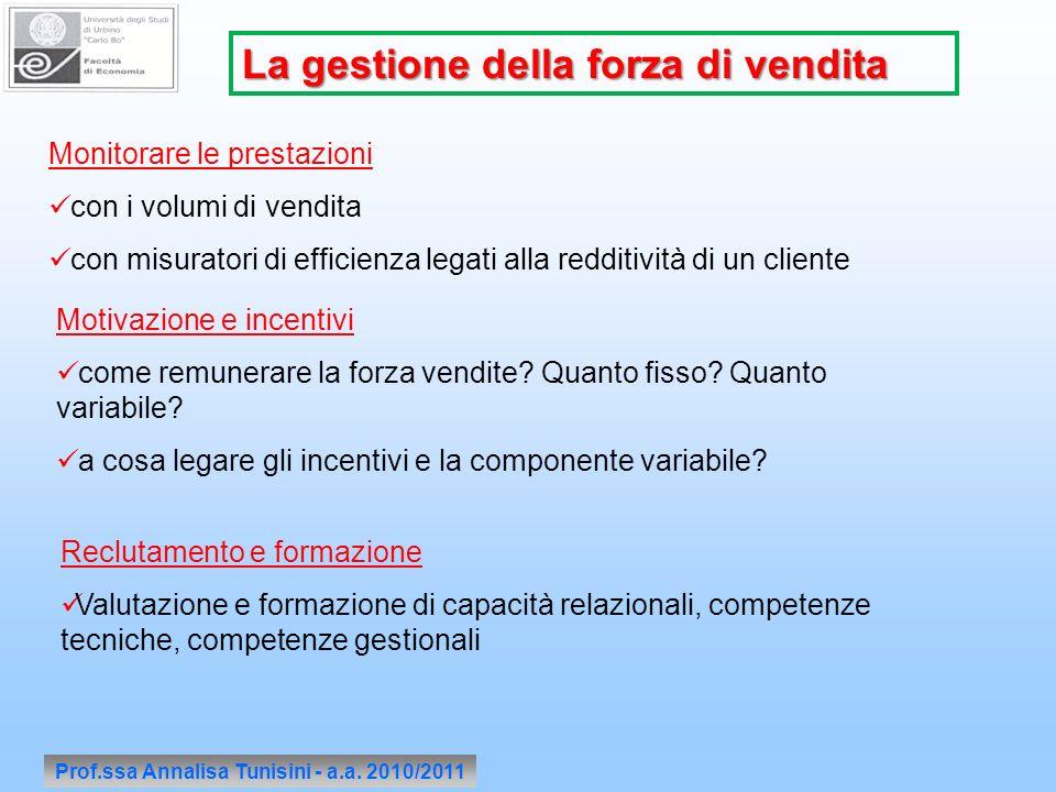 Prof.ssa Annalisa Tunisini - a.a. 2010/2011 La gestione della forza di vendita Monitorare le prestazioni con i volumi di vendita con misuratori di eff