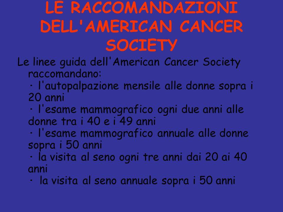 LE RACCOMANDAZIONI DELL'AMERICAN CANCER SOCIETY Le linee guida dell'American Cancer Society raccomandano: · l'autopalpazione mensile alle donne sopra