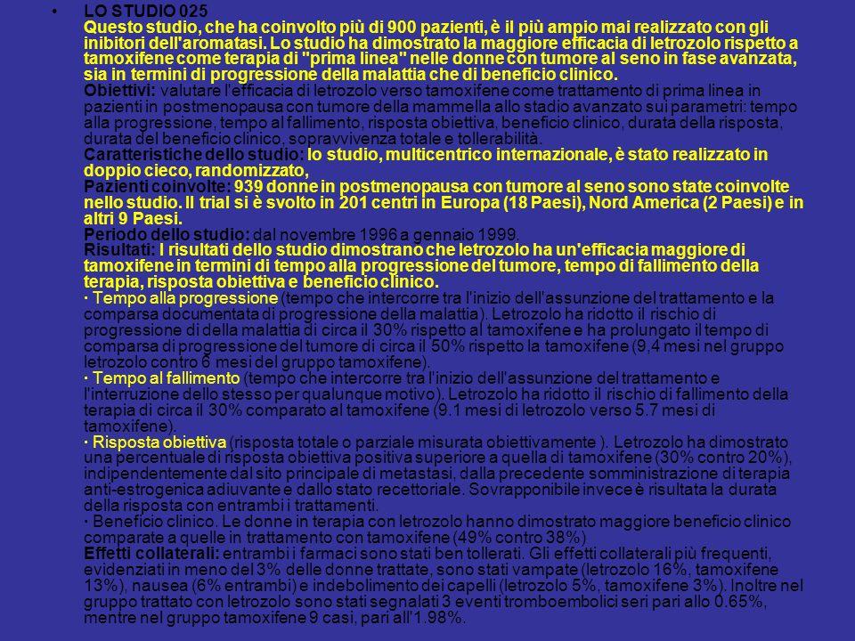 LO STUDIO 025 Questo studio, che ha coinvolto più di 900 pazienti, è il più ampio mai realizzato con gli inibitori dell'aromatasi. Lo studio ha dimost