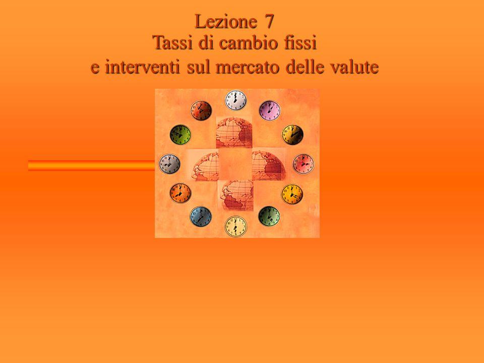 Lezione 7 Tassi di cambio fissi e interventi sul mercato delle valute