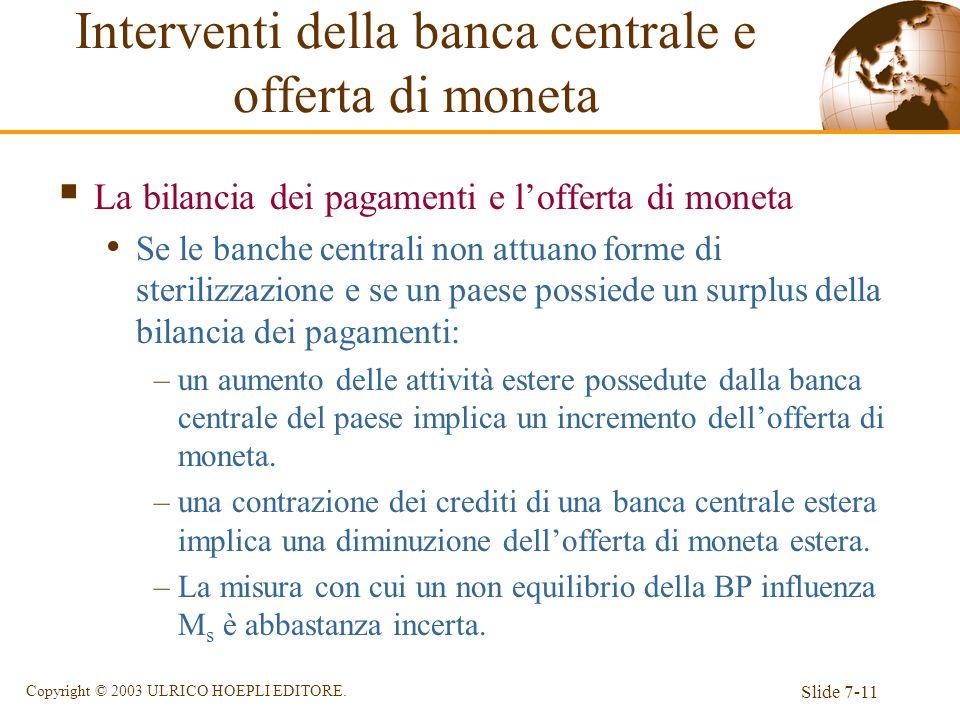 Slide 7-11 Copyright © 2003 ULRICO HOEPLI EDITORE. La bilancia dei pagamenti e lofferta di moneta Se le banche centrali non attuano forme di sterilizz