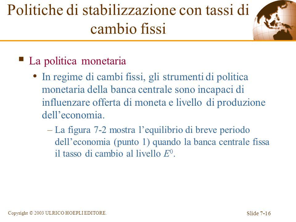 Slide 7-16 Copyright © 2003 ULRICO HOEPLI EDITORE. Politiche di stabilizzazione con tassi di cambio fissi La politica monetaria In regime di cambi fis