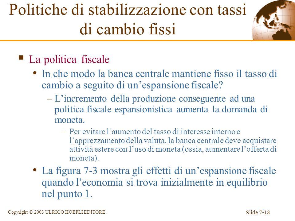 Slide 7-18 Copyright © 2003 ULRICO HOEPLI EDITORE. La politica fiscale In che modo la banca centrale mantiene fisso il tasso di cambio a seguito di un