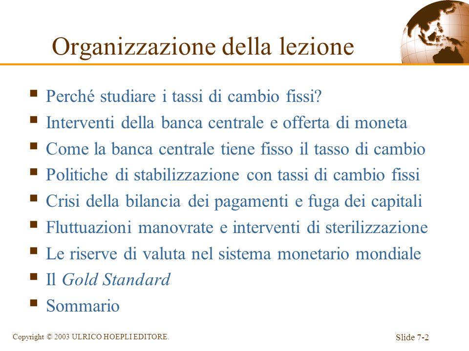 Slide 7-2 Copyright © 2003 ULRICO HOEPLI EDITORE. Organizzazione della lezione Perché studiare i tassi di cambio fissi? Interventi della banca central