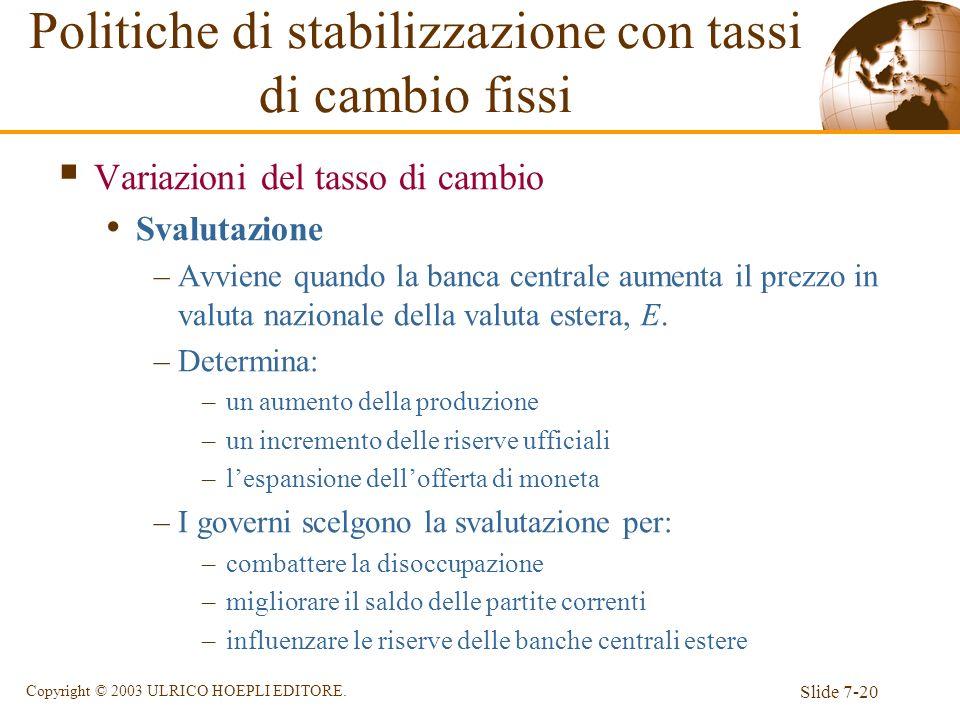 Slide 7-20 Copyright © 2003 ULRICO HOEPLI EDITORE. Variazioni del tasso di cambio Svalutazione –Avviene quando la banca centrale aumenta il prezzo in