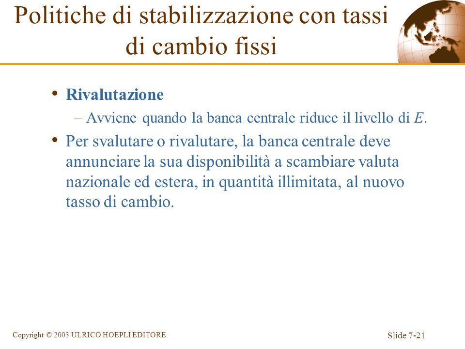 Slide 7-21 Copyright © 2003 ULRICO HOEPLI EDITORE. Rivalutazione –Avviene quando la banca centrale riduce il livello di E. Per svalutare o rivalutare,