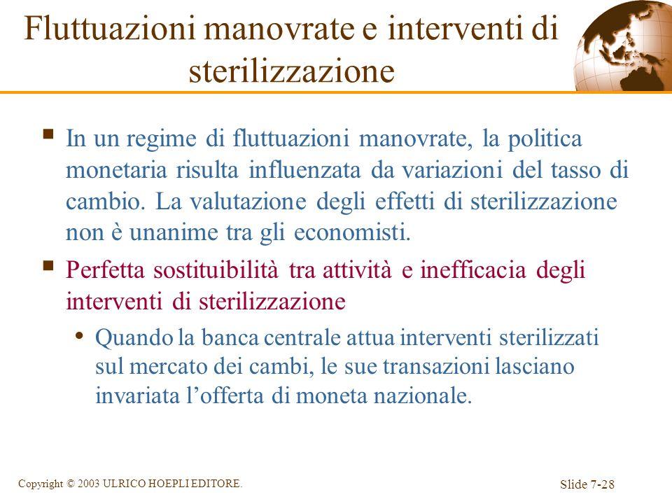 Slide 7-28 Copyright © 2003 ULRICO HOEPLI EDITORE. Fluttuazioni manovrate e interventi di sterilizzazione In un regime di fluttuazioni manovrate, la p