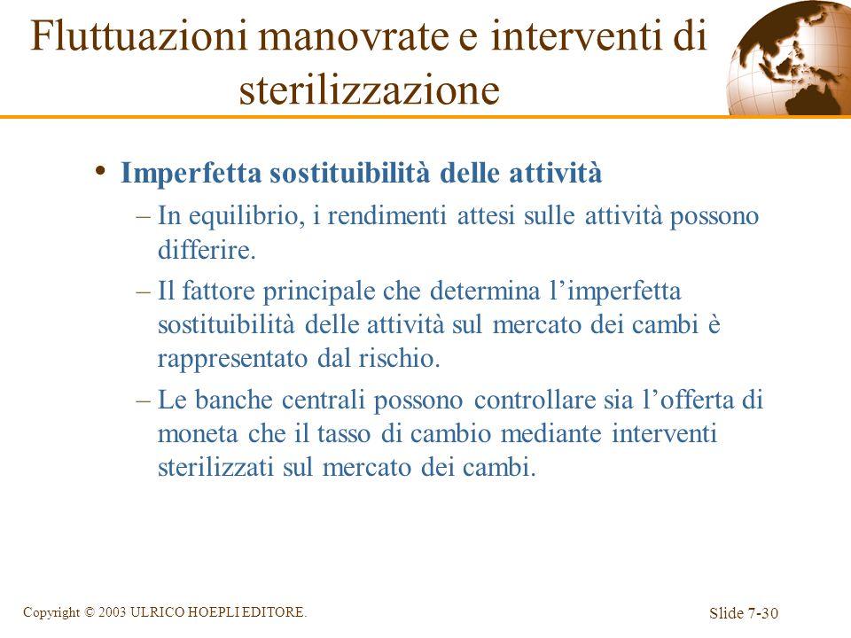 Slide 7-30 Copyright © 2003 ULRICO HOEPLI EDITORE. Imperfetta sostituibilità delle attività –In equilibrio, i rendimenti attesi sulle attività possono