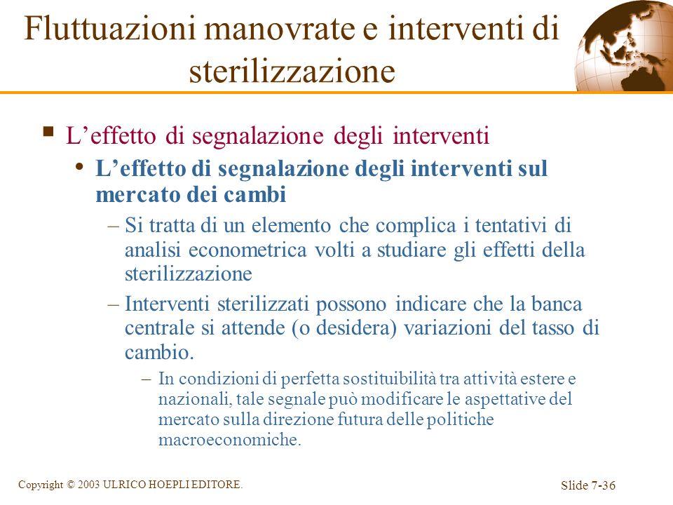 Slide 7-36 Copyright © 2003 ULRICO HOEPLI EDITORE. Leffetto di segnalazione degli interventi Leffetto di segnalazione degli interventi sul mercato dei