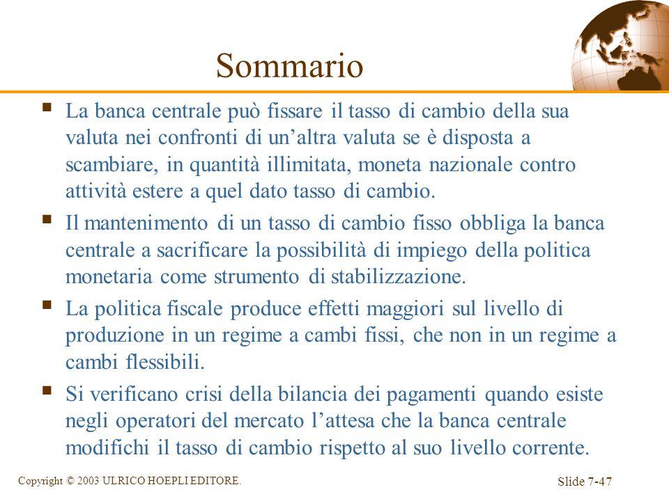Slide 7-47 Copyright © 2003 ULRICO HOEPLI EDITORE. Sommario La banca centrale può fissare il tasso di cambio della sua valuta nei confronti di unaltra