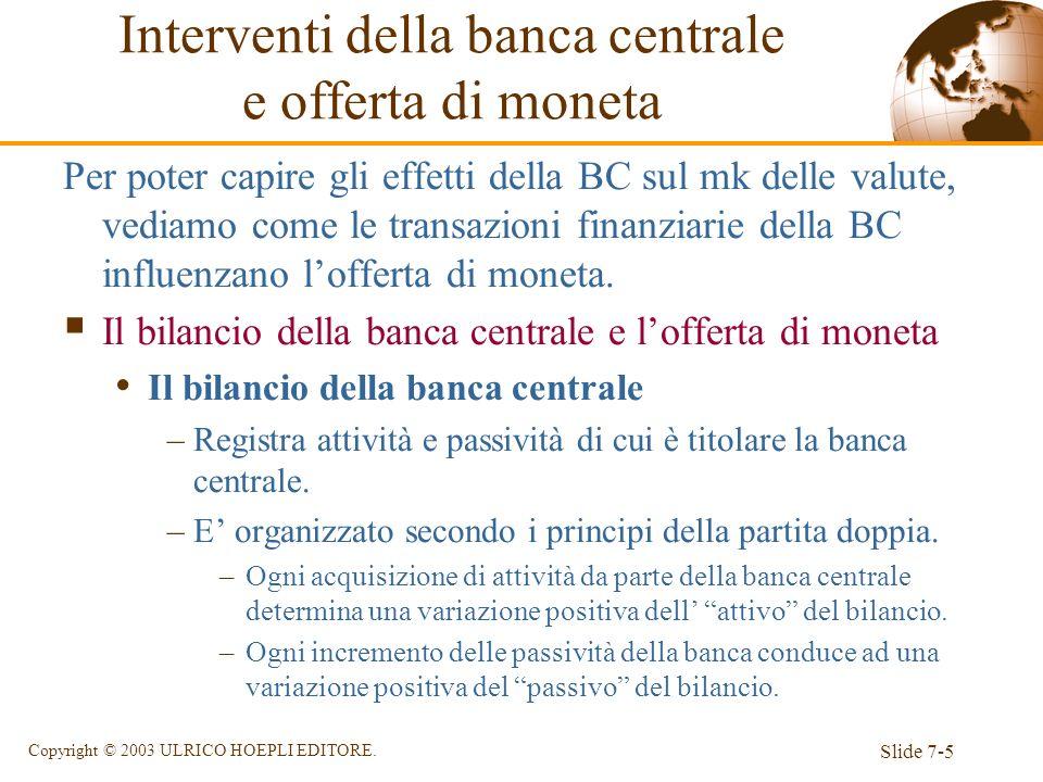 Slide 7-5 Copyright © 2003 ULRICO HOEPLI EDITORE. Per poter capire gli effetti della BC sul mk delle valute, vediamo come le transazioni finanziarie d