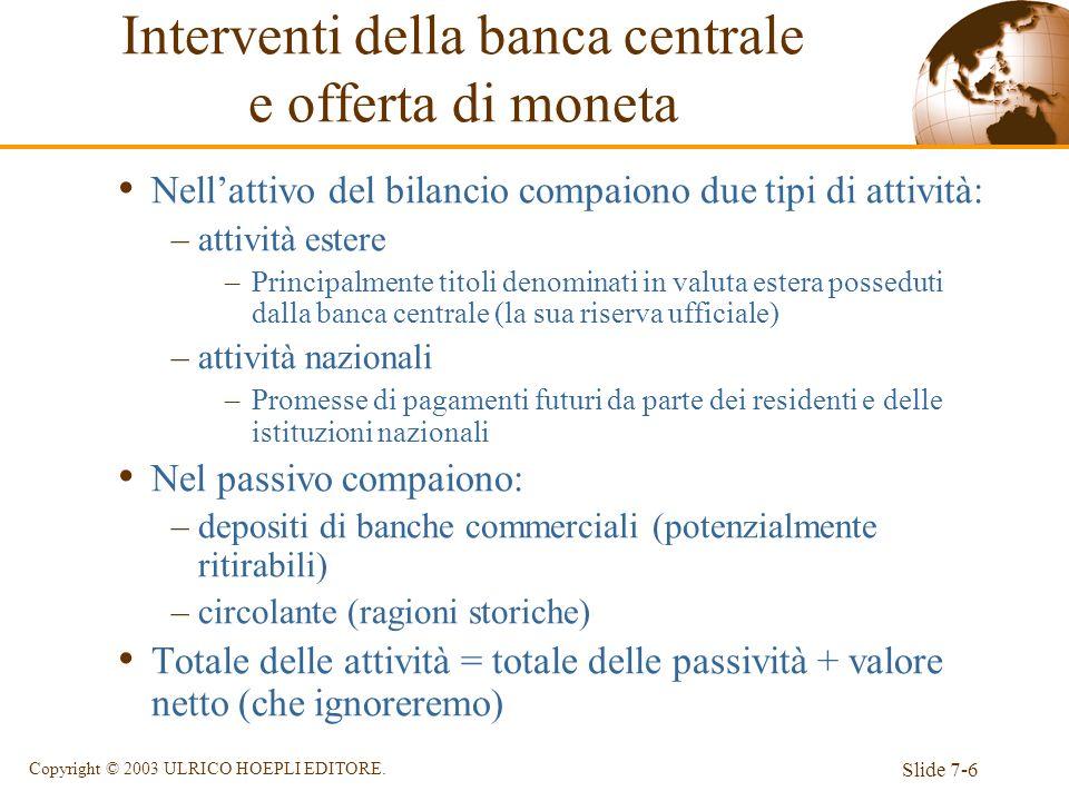 Slide 7-6 Copyright © 2003 ULRICO HOEPLI EDITORE. Nellattivo del bilancio compaiono due tipi di attività: –attività estere –Principalmente titoli deno