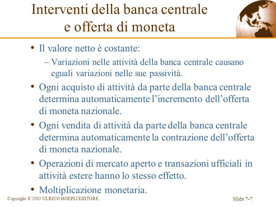 Slide 7-7 Copyright © 2003 ULRICO HOEPLI EDITORE. Il valore netto è costante: –Variazioni nelle attività della banca centrale causano eguali variazion