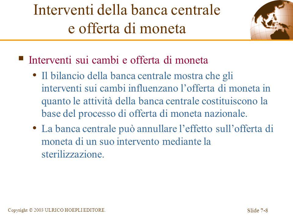 Slide 7-8 Copyright © 2003 ULRICO HOEPLI EDITORE. Interventi sui cambi e offerta di moneta Il bilancio della banca centrale mostra che gli interventi