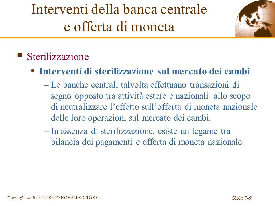 Slide 7-9 Copyright © 2003 ULRICO HOEPLI EDITORE. Sterilizzazione Interventi di sterilizzazione sul mercato dei cambi –Le banche centrali talvolta eff