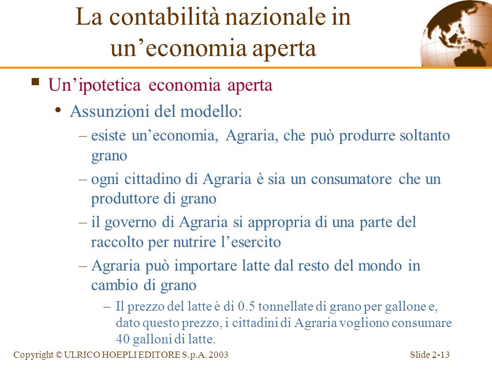 Slide 2-12Copyright © ULRICO HOEPLI EDITORE S.p.A. 2003 Lidentità di contabilità nazionale in uneconomia aperta E la somma tra spesa nazionale ed este