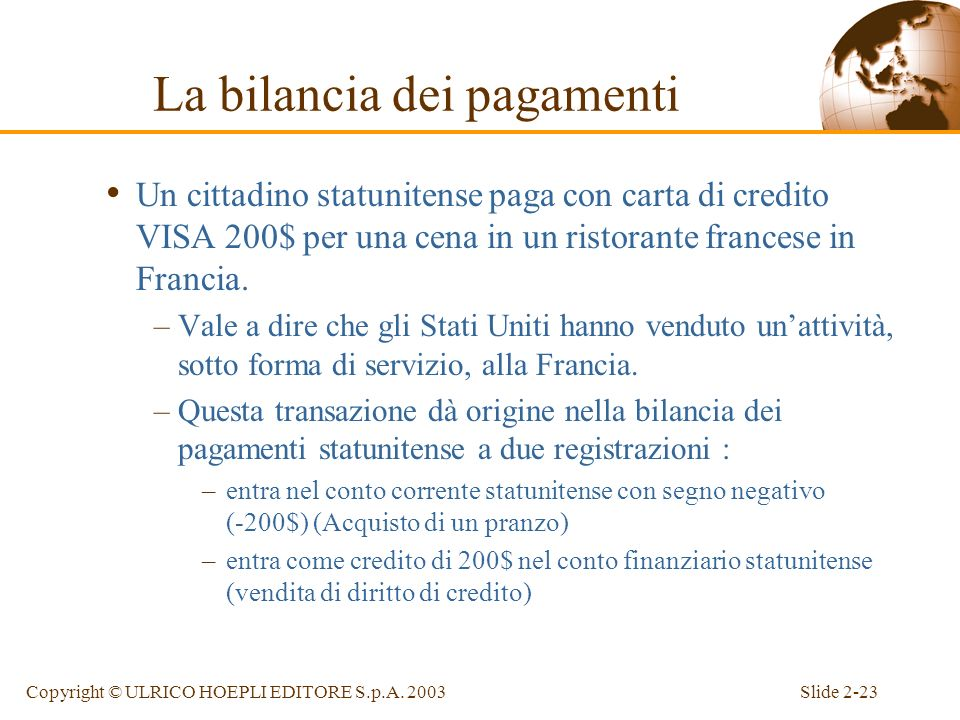 Slide 2-22Copyright © ULRICO HOEPLI EDITORE S.p.A. 2003 Esempi di transazioni Un cittadino statunitense acquista per 1000$ una macchina da scrivere da