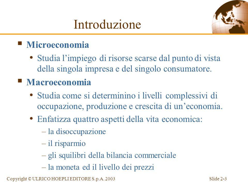 Slide 2-2Copyright © ULRICO HOEPLI EDITORE S.p.A. 2003 Indice Introduzione La contabilità nazionale La contabilità nazionale in uneconomia aperta La b