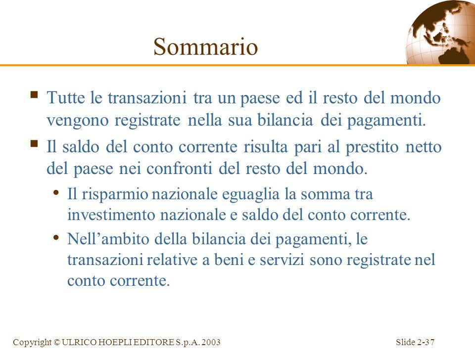 Slide 2-36Copyright © ULRICO HOEPLI EDITORE S.p.A. 2003 Sommario Il PNL di un paese coincide con il reddito percepito dai suoi fattori produttivi. Il