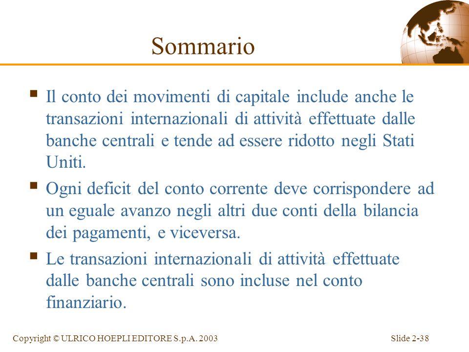 Slide 2-37Copyright © ULRICO HOEPLI EDITORE S.p.A. 2003 Sommario Tutte le transazioni tra un paese ed il resto del mondo vengono registrate nella sua