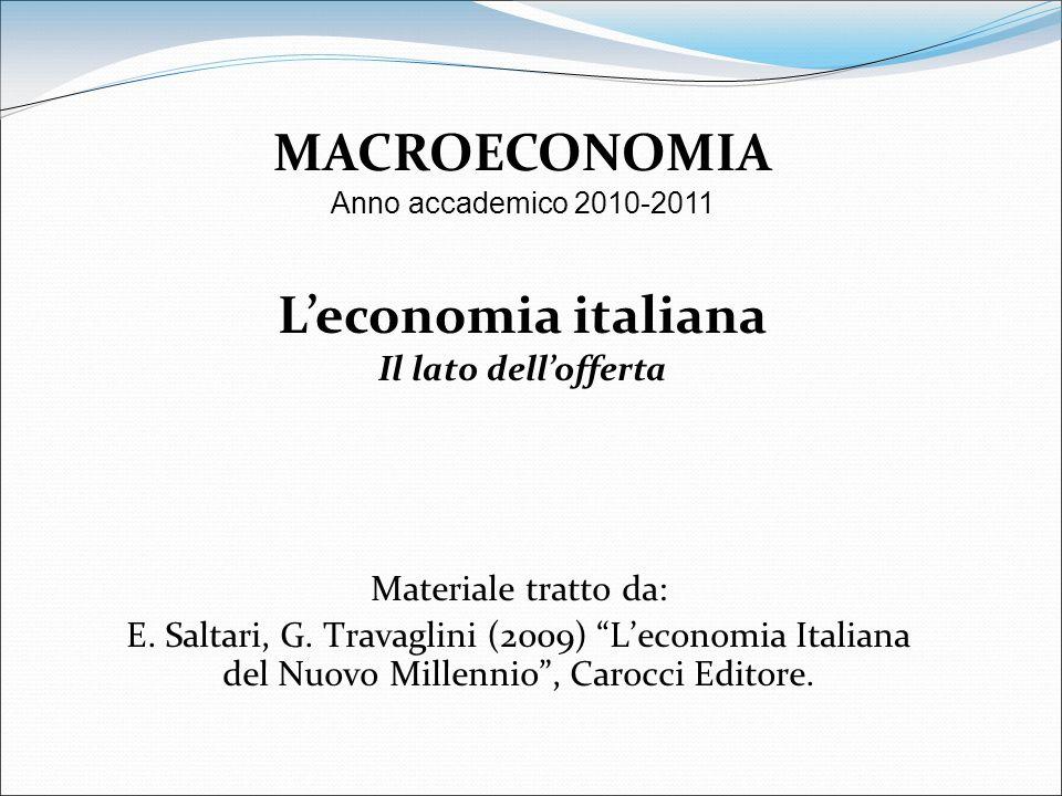 Materiale tratto da: E. Saltari, G. Travaglini (2009) Leconomia Italiana del Nuovo Millennio, Carocci Editore. MACROECONOMIA Anno accademico 2010-2011