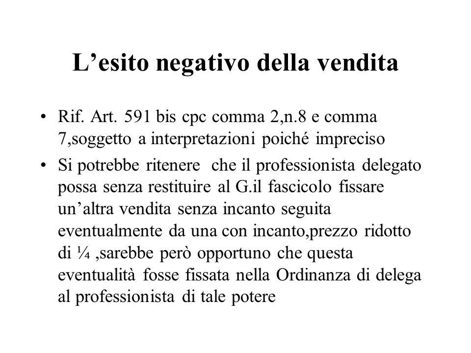 Lesito negativo della vendita Rif. Art. 591 bis cpc comma 2,n.8 e comma 7,soggetto a interpretazioni poiché impreciso Si potrebbe ritenere che il prof
