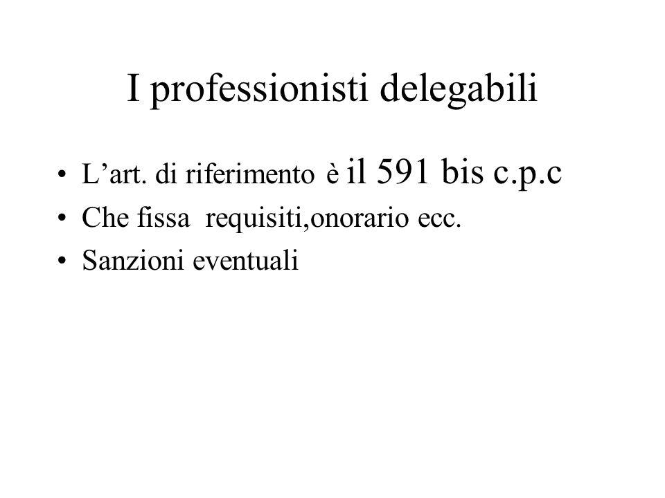 I professionisti delegabili Lart. di riferimento è il 591 bis c.p.c Che fissa requisiti,onorario ecc. Sanzioni eventuali