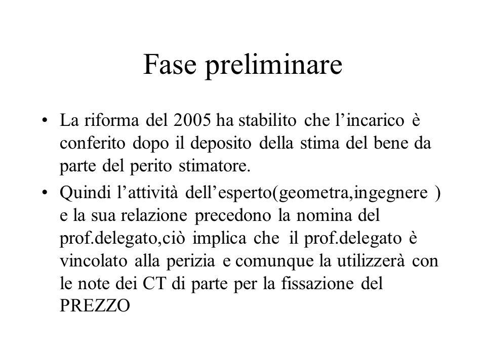 Fase preliminare La riforma del 2005 ha stabilito che lincarico è conferito dopo il deposito della stima del bene da parte del perito stimatore. Quind