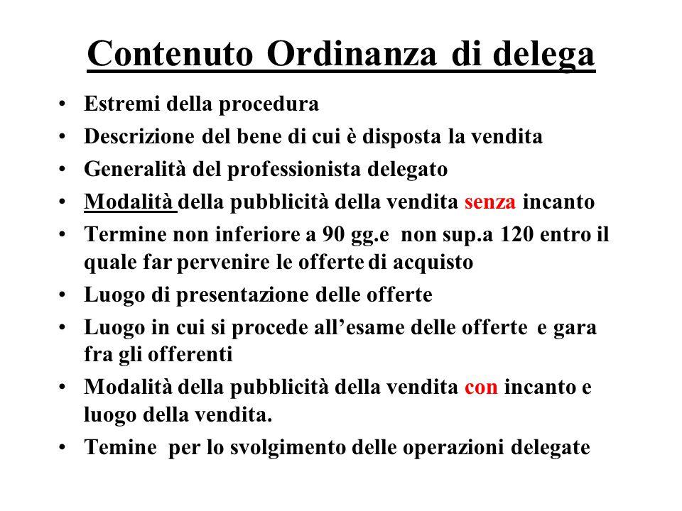 Contenuto Ordinanza di delega Estremi della procedura Descrizione del bene di cui è disposta la vendita Generalità del professionista delegato Modalit