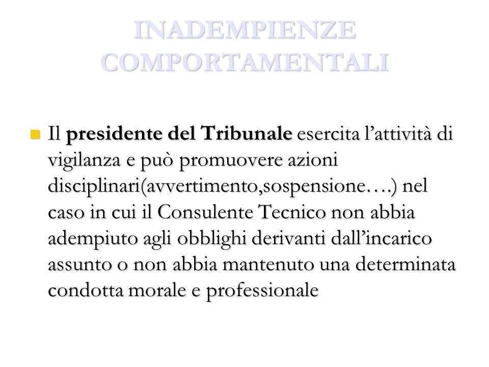 INADEMPIENZE COMPORTAMENTALI Il presidente del Tribunale esercita lattività di vigilanza e può promuovere azioni disciplinari(avvertimento,sospensione