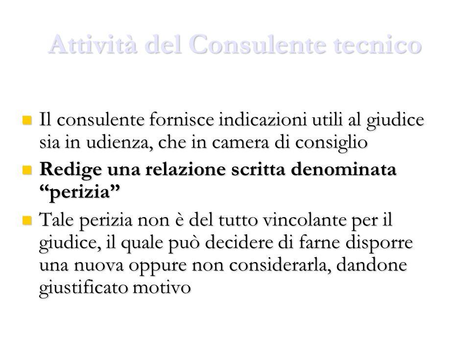 Attività del Consulente tecnico Il consulente fornisce indicazioni utili al giudice sia in udienza, che in camera di consiglio Il consulente fornisce