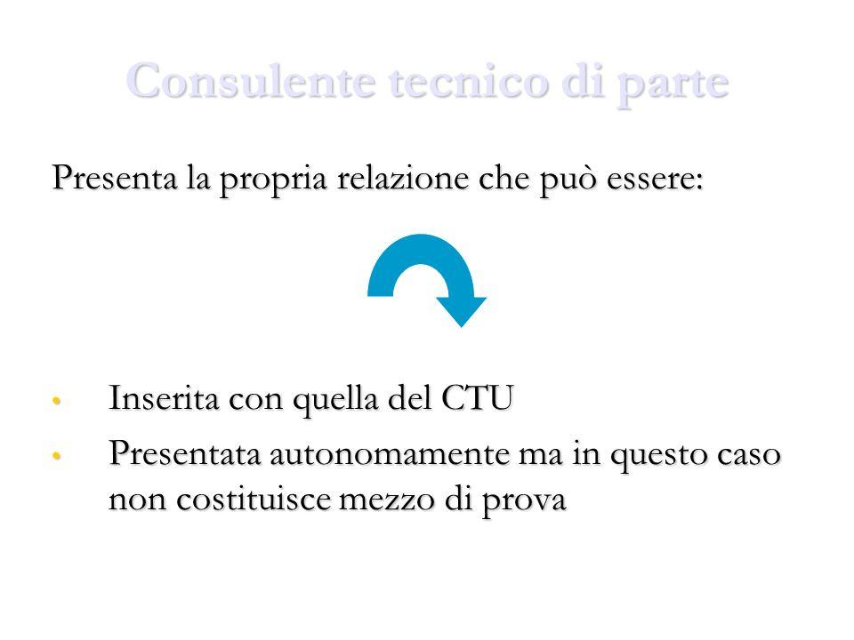 Consulente tecnico di parte Presenta la propria relazione che può essere: Inserita con quella del CTU Inserita con quella del CTU Presentata autonomam