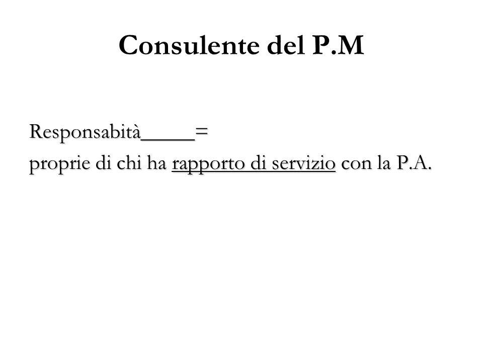 Consulente del P.M Responsabità_____= proprie di chi ha rapporto di servizio con la P.A.