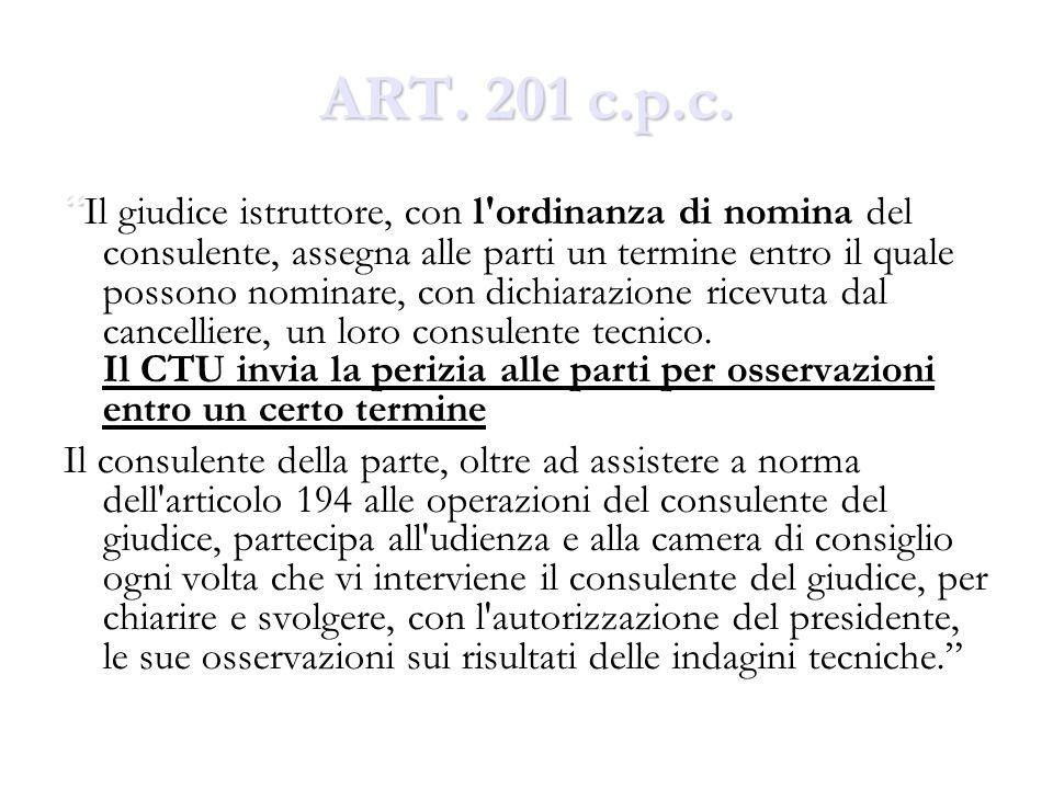 ART. 201 c.p.c. Il giudice istruttore, con l'ordinanza di nomina del consulente, assegna alle parti un termine entro il quale possono nominare, con di