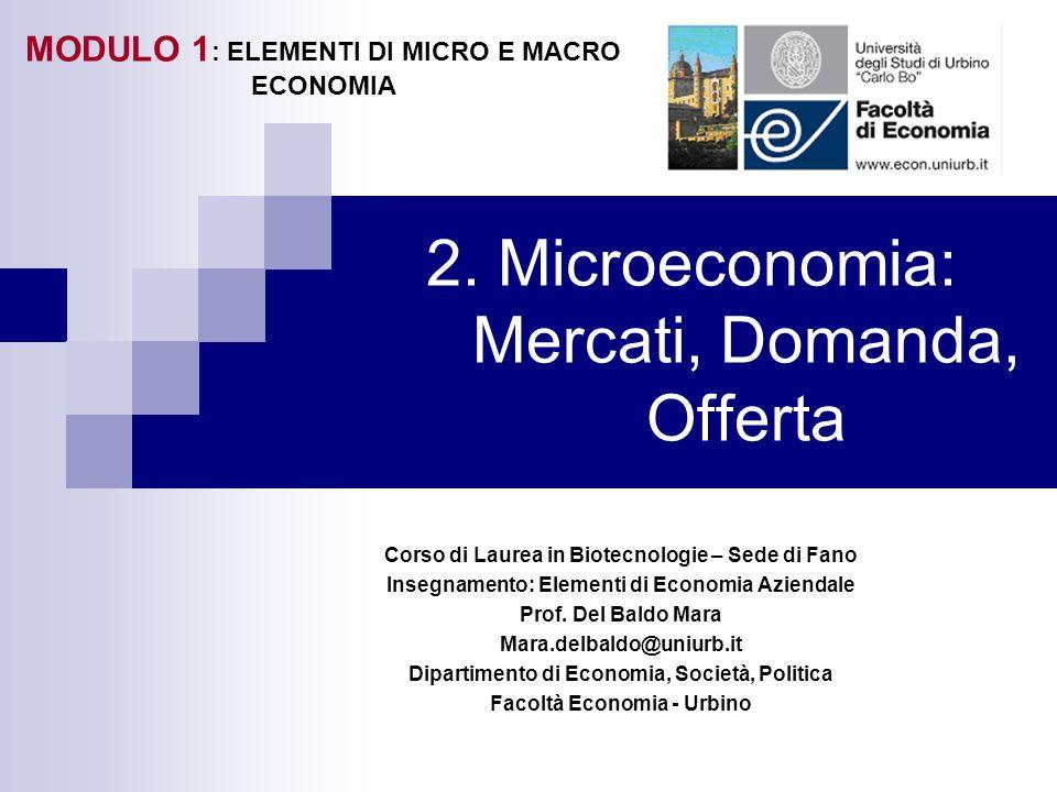 2. Microeconomia: Mercati, Domanda, Offerta Corso di Laurea in Biotecnologie – Sede di Fano Insegnamento: Elementi di Economia Aziendale Prof. Del Bal