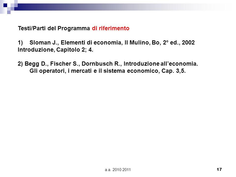 a.a. 2010 201117 Testi/Parti del Programma di riferimento 1)Sloman J., Elementi di economia, Il Mulino, Bo, 2° ed., 2002 Introduzione, Capitolo 2; 4.